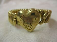 Antique gold plated Sweetheart Bracelet etched Heart Lady Launton Bigney 46