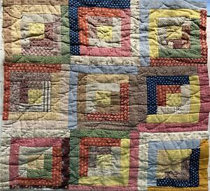 Antique 1800's quilt square Log Cabin Cutter All Hand Stitched Quilt Collectors