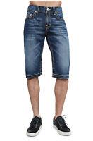 True Religion Men's Big T Release Hem Cut Off Denim Jean Shorts in True Grove