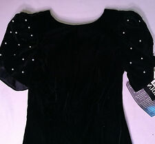 Black Evening Party Short Dress After Dark Size 8 NWT Velvet Beaded Sleeves