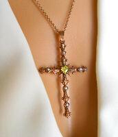 Peridot Kreuz Anhänger 925er Silber rosévergoldet + Ankerkette 50 cm KRST3 + Box