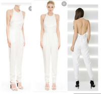 NWT Finders Keepers The Monument White High Neck Backless Low Jumpsuit sz S