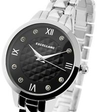 Damen Armbanduhr Schwarz/Silber Crystalbesatz Metallarmband Excellanc 1800017