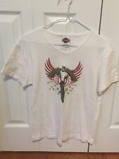 Harley Davidson Women's XL White Studded Short Sleeve T Shirt
