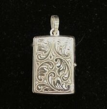 NEW Sterling Silver Rectangular Locket  925 Pendant Paisley Design Free Ship Opt
