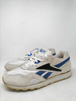 REEBOK Vintage Sneakers Bianche e Blu In Ecopelle Leather EUR 44.5 Uomo Man