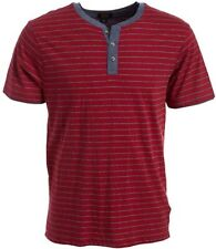 LEE Men's Short Sleeve Henley Shirt Red with gray Size XL NEW