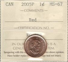 2005P Small Cent ICCS Certified MS-67 RED GEM++ ** STUNNING Graded Canada Penny