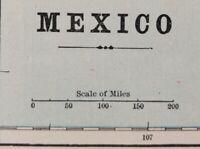 "Vintage 1900 MEXICO Map 14""x11"" Old Antique Original MAZATLAN SINALOA VERA CRUZ"