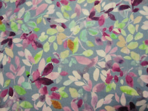 Floral Flowers Foilage Pinks Purple Grn Gray Digital Printing Cotton Fabric BTHY