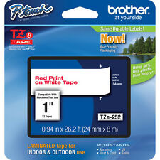 "Brother TZ252 TZe252 24mm 1"" inch red on white TZ label tape PT520 PT2430 PTouch"