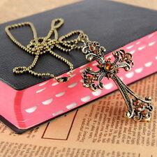 Gothic Punk Vintage Brass Cross Pendant Long Chain Necklace Jewellery UK Seller