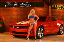 2010 Camaro SS Fast & Sexy Poster Playboy models muscle cars bikini girl Chevy