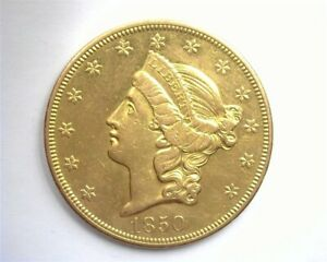 1850-O LIBERTY HEAD $20 GOLD UNCIRCULATED SCARCE THIS NICE!!