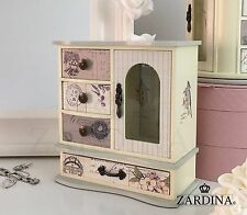 Laura - Fairy Tale Wooden Jewellery Box Cabinet with 4 Drawers