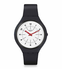 New Swatch SkinWheel White Dial Black Silicone Band Women's Watch SVUM104