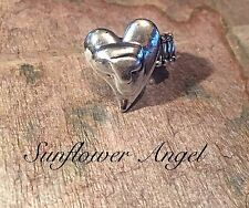 Lagenlook, ring, abstract piece, adjustable bars elastic, with 3D layered hearts