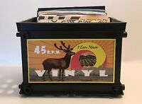 Retro Style Mini Record Crate for 45 rpm's / Great for your 45s (Holds 75)
