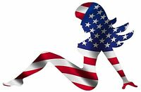 MUDFLAP GIRL USA FLAG HARD HAT HELMET TOOLBOX BUMPER STICKER DECAL MADE IN USA