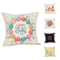 Easter egg Pattern Cotton Linen Cushion Cover Throw Pillow Case Home Decor
