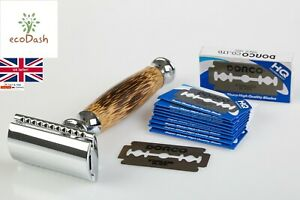 Eco Friendly Bamboo Safety Razor and Blades - Double Edge Shaver - Plastic Free