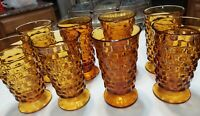 Vintage 6'' Glasses Amber Harvest Whitehall INDIANA Cubist Cube set 8