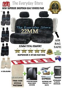 Extra 20% Off Sheepskin (Lambswool) Car Seat Covers 22MM Pair Airbag Safe