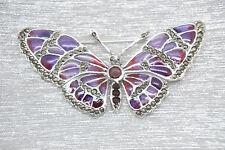 GRANATO SMALTATO marcasite Farfalla Spilla 925 argento sterling