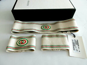 Gucci Headband Sweatband Tennis GG logo Wristband Set in box size medium