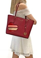 MICHAEL KORS HEARTS JET SET TRAVEL CARRYALL TOTE SAFFIANO LEATHER BAG CHERRY