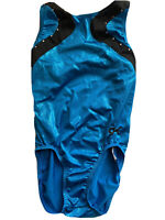 GK ELITE Gymnastics Leotard Adult Small AS Shiny Blue/ Black Solid With Bling