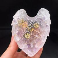 Natural Quartz Crystal Gravel Healing Resin Organ Energy Wing Decoration 1Pc