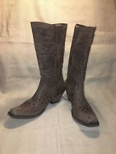 Liberty America Black Cafe Lote Boots Distressed Brown Leather Women's Size 9
