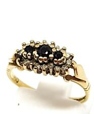 9ct yellow gold Diamond and Sapphire cluster ring size J 1/2 Fully Hallmarked