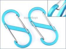 2pcs Blue S Carabiner Hook Snap Clip Ring Clasp Buckle Bag Key Chain Keyring