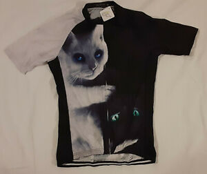 Cycling Jersey Adult LARGE Cats Black and White yin-yang