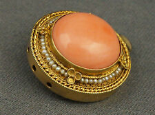 C. 1900 Antique Etruscan 14K Gold, Coral & Seed Pearl Multi Strand Clasp Pendant