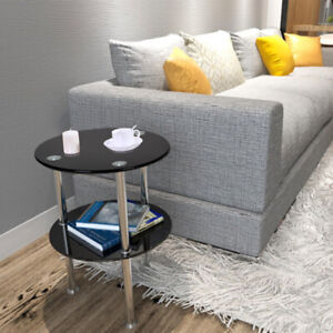 Fashion Black or Clear Glass Round Side Table 2 Tier Coffee Or Lamp Table