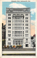 Indianapolis Indiana 1930 Postcard Columbia Club Building Old Cars