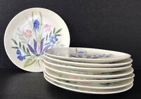 "Vintage Red Wing Pottery Country Garden Bread Plates 6 1/2"" Set Of 8 Mid Century"