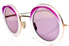 Cutler and Gross Sunglasses Milky White Purple Eyebrow Gold Round 44-28-145