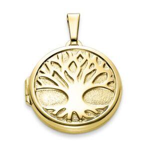 Echt Gold 333 Lebensbaum Foto Medaillon Amulett 2 Bilder Anhänger rund z. öffnen