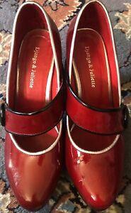Django& Juliette Red Patent Leather Shoes Size 39