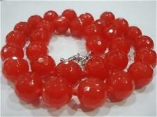 """Natural!10mm Faceted Red Ruby Round Gemstone Beads Necklace 18"""" AAA"""