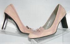 """Nine West light pink suede oxford moc loafers dress pumps 3.5"""" stacked heel 9"""