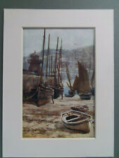 """ST.IVES HARBOUR CORNWALL ORIGINAL 1920's PRINT  NEW 6""""x8"""" MOUNT READY TO FRAME"""
