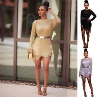 New Womens Summer Bodycon Long Sleeve Ladies Clubwear Party Evening Mini Dress