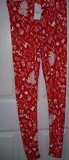 Women's Rue 21 Leggings Size S/M Red White Christmas Ornaments NEW