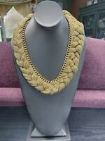 """Vintage Bohemian Woven Puffy Gold Chain Statement Necklace 20"""""""