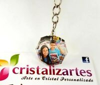 Personalized Photo Crystal Key chain Necklace Charm Pendant US SELLER - Octagon